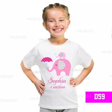 camiseta infantil Elefante aniversario personalizda