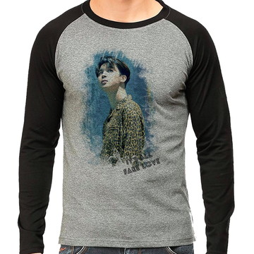 0d55840d90 Camiseta BTS Jimin Fake love Raglan Longa Mescla