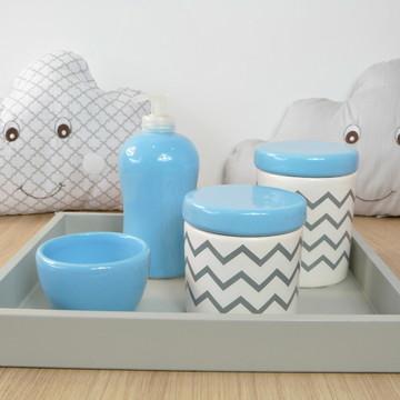Kit Higiene Bebe Porcelana Chevrom Azul e Cinza Bandeja MDF