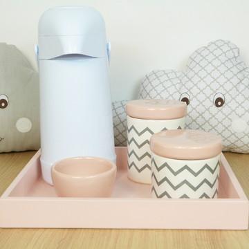 Kit Higiene Bebe Porcelana Chevrom Cinza e rosa com Garrafa