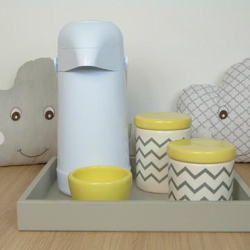 Kit Higiene Bebe Porcelana Chevrom Cinza Amarelo com Garrafa