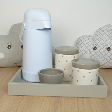 Kit Higiene Bebe Porcelana Poá Cinza com Garrafa