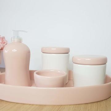 Kit Higiene Bebe Porcelana Rosa e Branco com Bandeja Oval