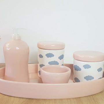 Kit Higiene Bebe Porcelana Nuvem Rosa Cinza Bandeja Oval