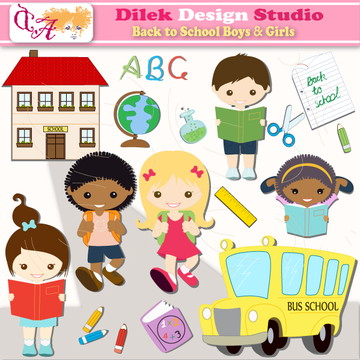 Kit Scrapbook Digital - Na Escola