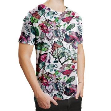 Camiseta Masculina Floral Jardim Russo Estampa Digital