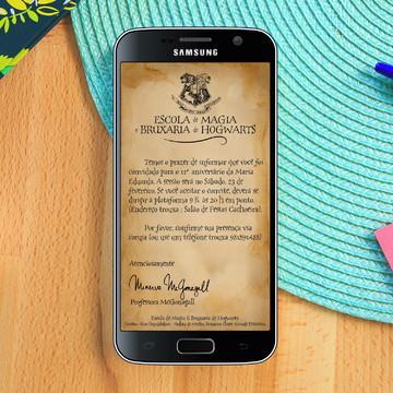 Convite Digital Carta de Hogwarts Personalizada Whatsapp