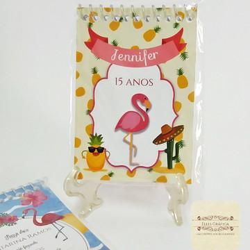 Bloquinho Aniversário Flamingo Abacaxi