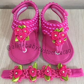 kit Chinelinho bebê c/ faixa pérola e rosinha