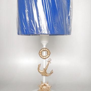 Abajur Branco Marinheiro e Cúpula Azul