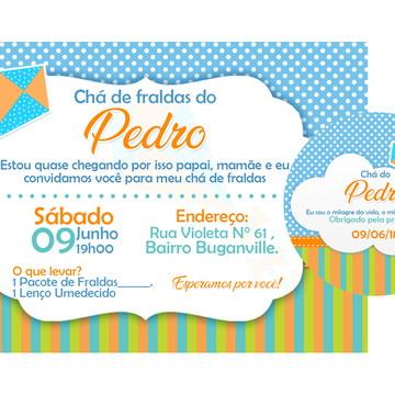 PACOTE PROMOCIONAL - CHÁ DE FRALDAS PIPA (Tag+Convite)