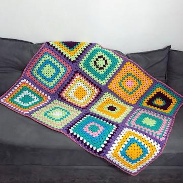 Manta de lã em Crochê