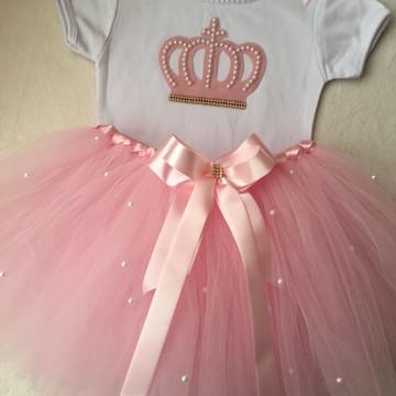 Fantasia bailarina coroa realeza rosa