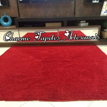 Tapete vermelho para decoração da sala frufru artesanal
