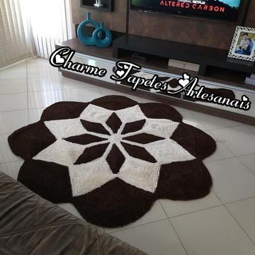 Tapete para decoração da sala flor estrela marrom e pérola