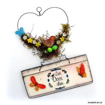 Guirlanda-Placa rústica decorativa com borboletas