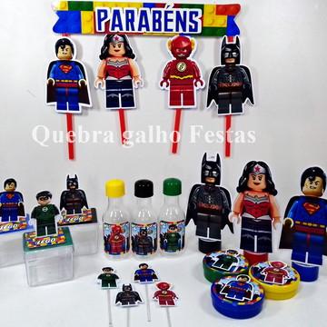 Lembrancinhas Lego Liga da Justiça kit 105 Itens Promoção