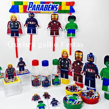 Lembrancinhas Lego Vingadores kit 105 Itens Promoção