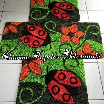 Jogo de tapetes para cozinha joaninha e flores