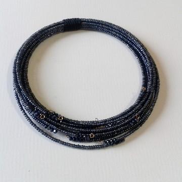 Colar Flexivel de Miçangas Azul