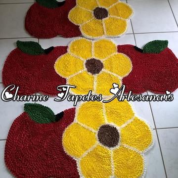 Jogo de tapetes para cozinha flor e maçã