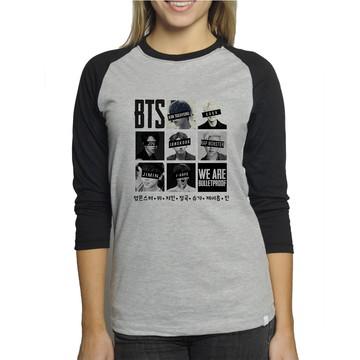 c5b29bb876 CamisetaBTS Bulletproof Raglan Babylook mescla 3 4