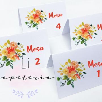 Placa Mesa para Casamento Tema Floral