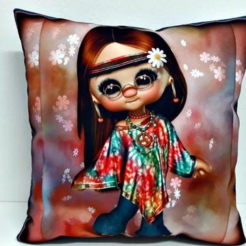Almofada boneca hippie tamanho 40x40cm