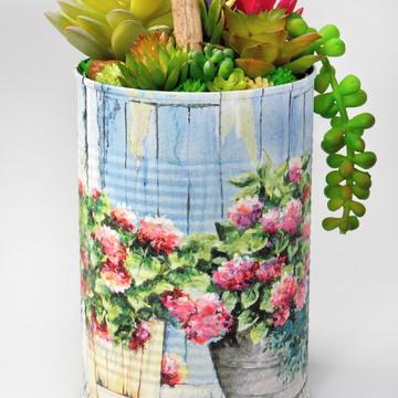 Arranjo de Suculentas Artificiais Vasos Floridos