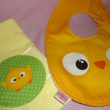 Kit babador Pintinho com toalha de boca