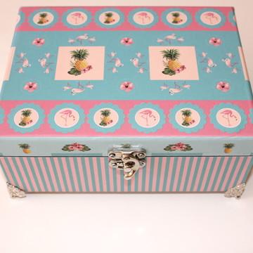 Caixa Decorada Flamingos #044