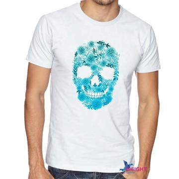 Camiseta Masculina Caveira Floral