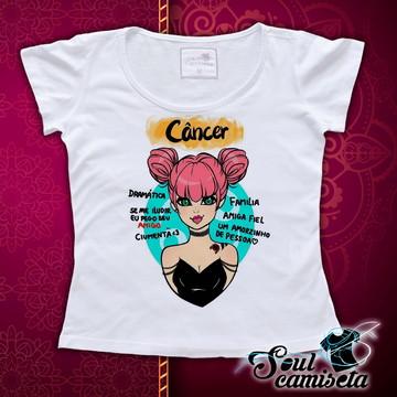 Camiseta Feminina- Signos- Câncer