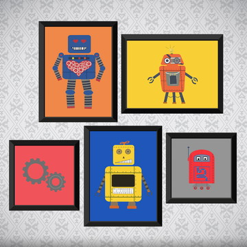 Kit 5 Quadros Robôs - Infantil