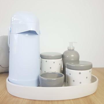 Kit Higiene Bebe Porcelana Poá Cinza com Bandeja