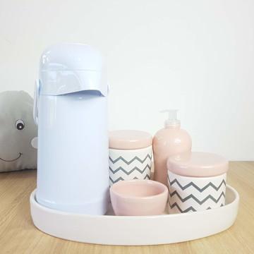 Kit Higiene Bebe Porcelana Chevrom Rosa e Cinza com Bandeja