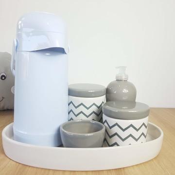 Kit Higiene Bebe Porcelana Chevrom Cinza com Bandeja