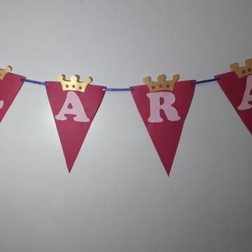 Bandeirola rosa com coroa dourada