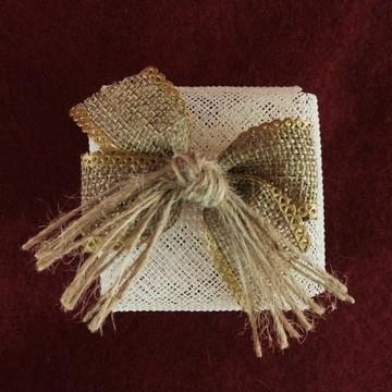 Embalagem para bem-casado: Pérola com juta (rústico)