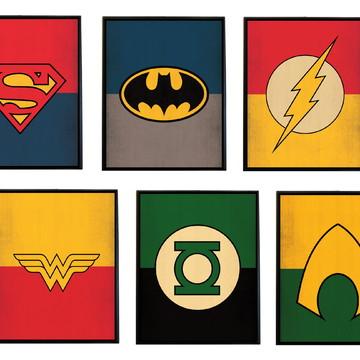 Conjunto de quadros Liga da Justiça (símbolos)
