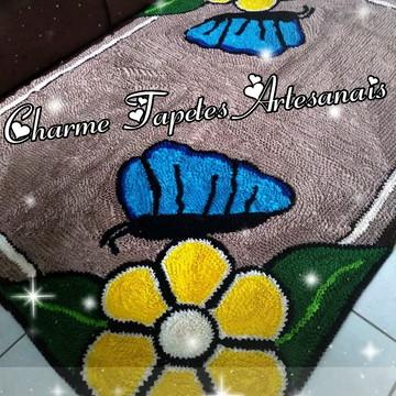 Tapete de frufru para sala flores e borboletas