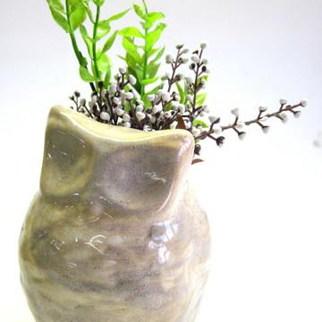 Vaso cachepô / CORUJA / Cerâmica esmaltada