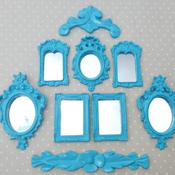 Kit 7 Espelhos Decorativos Com Molduras E Arabescos Tiffany