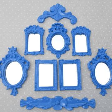 Kit 7 Espelhos Decorativos Com Molduras E Arabescos Azul