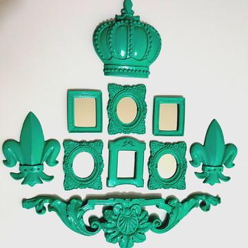 Kit 6 Espelhos Decorativos Com Molduras Coroa E Arabescos