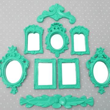 Kit 7 Espelhos Decorativos Com Molduras E Arabescos
