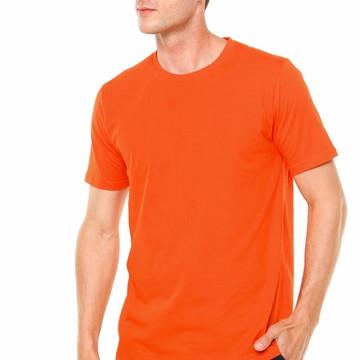 caac79ab42 Camiseta 100% Algodão Sem Estampa Fio 30.1 Lisa Laranja
