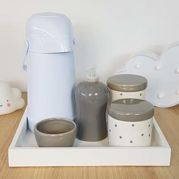Kit Higiene Bebe Porcelana Póá Cinza com Garrafa
