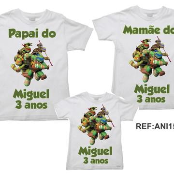 Kit 3 Camisetas Aniversario Tartarugas Ninja Turtles 01