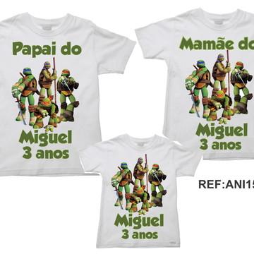 Kit 3 Camisetas Aniversario Tartarugas Ninja Turtles 02
